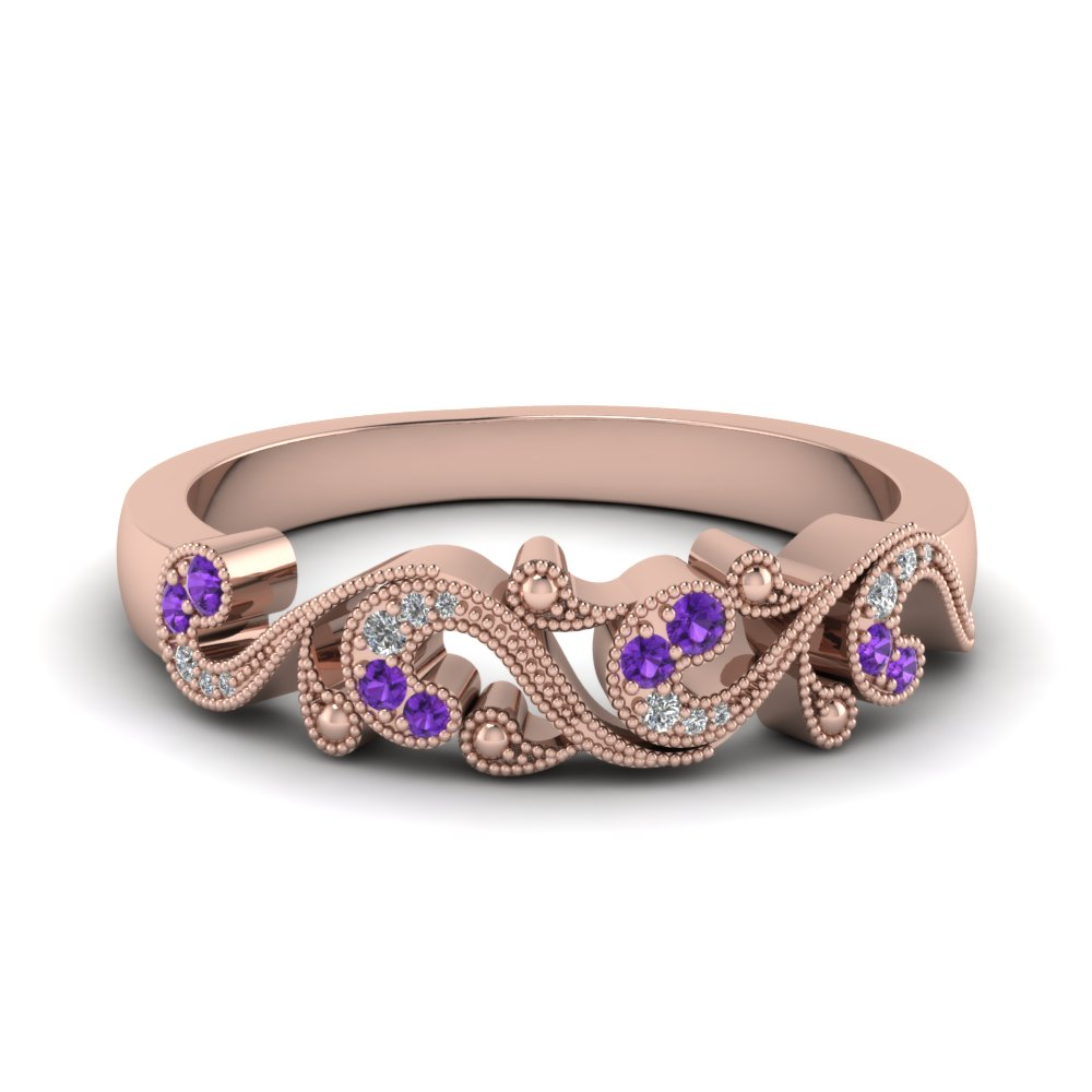 Purple Topaz Milgrain Filigree Band