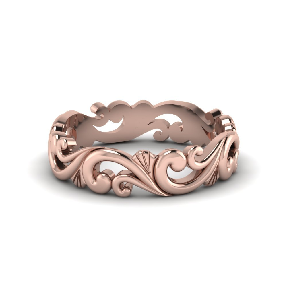 18K Rose Gold Filigree Band
