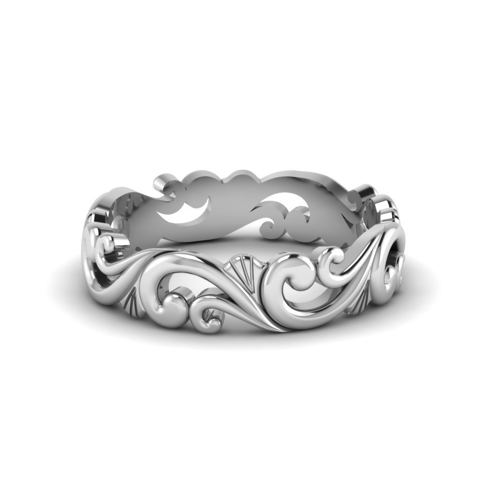 18K White Gold Womens Band