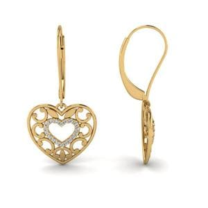 Filigree Heart Diamond Earring In 14K Yellow Gold