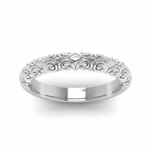 Filigree Intricate Wedding Band In 14K White Gold