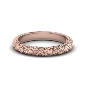 Filigree Intricate 18k Rose Gold Band