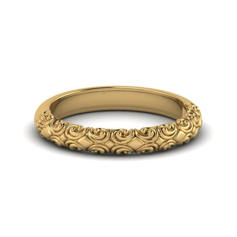 Intricate 14k Yellow Gold Wedding Band