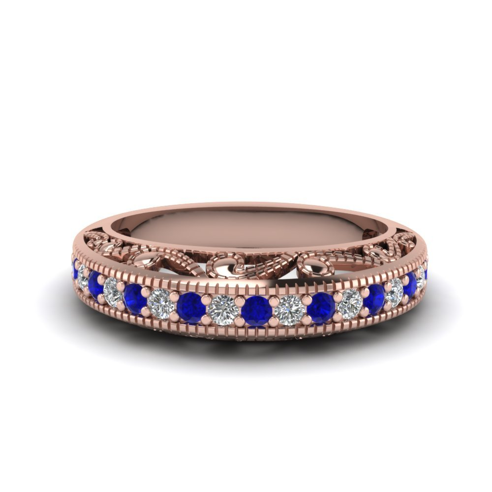 Filigree Paisley Antique sapphire Band
