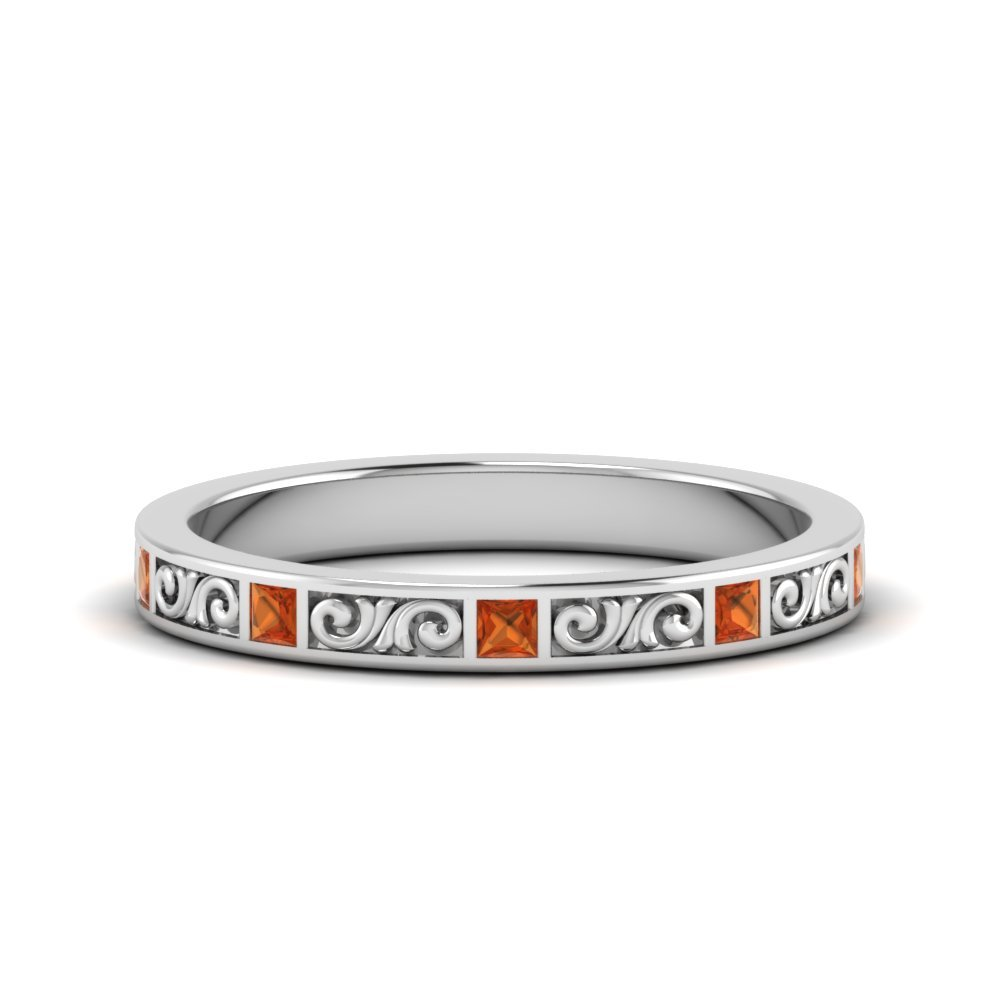 Filigree Princess Cut orange sapphire Band