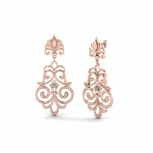 Filigree Round Diamond Earrings