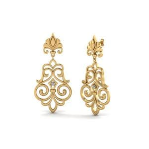 Filigree Round Diamond Drop Earrings