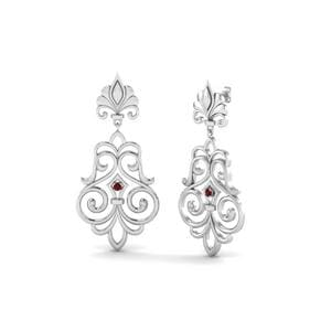 Filigree Ruby Drop Earring