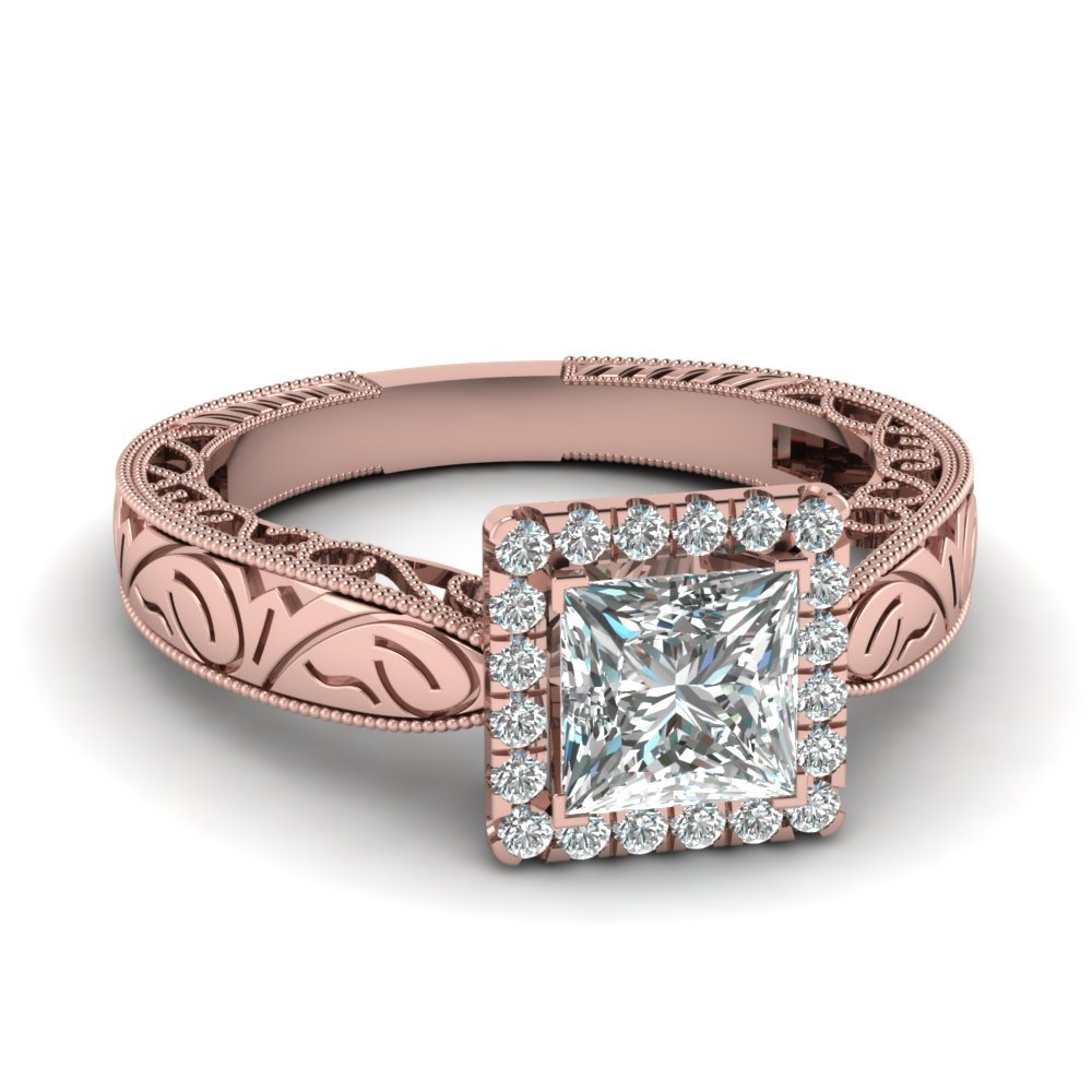 Handmade Filigree Halo Engagement Ring In 14K Rose Gold