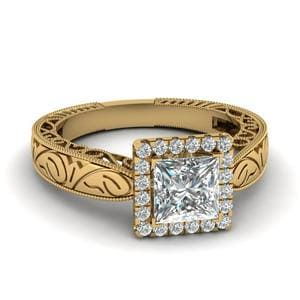 Handmade Filigree Halo Engagement Ring In 14K Yellow Gold