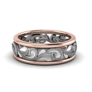 Filigree Two Tone Wedding Band In 14K White Gold