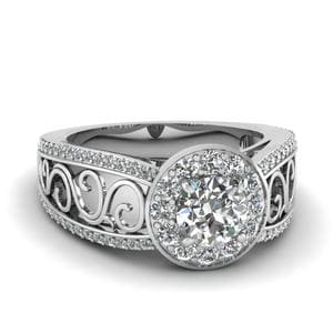 Filigree Vintage Style Halo Split Shank Diamond Engagement Ring In 950 Platinum