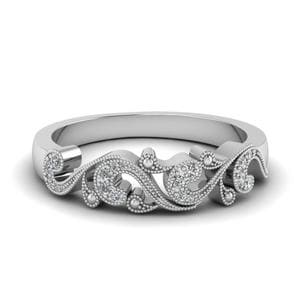 Filigree Diamond Wedding Anniversary Gifts In 14K White Gold