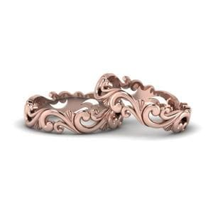 Filigree Wedding Bands For Lesbian Couple In 14K Rose Gold