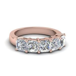 Five Stone Asscher Cut Diamond Band In 14K Rose Gold