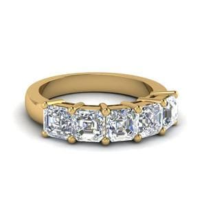 Five Stone Asscher Cut Diamond Band