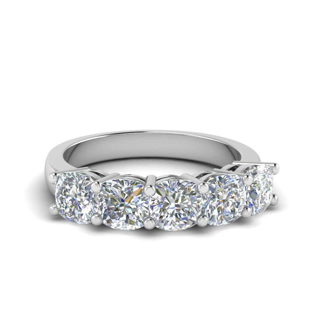 Platinum Cushion Diamond 5 Stone Band