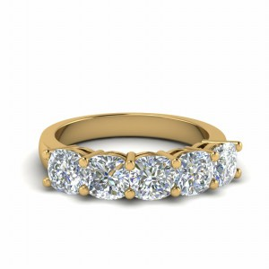 14K Yellow Gold Five Stone Band