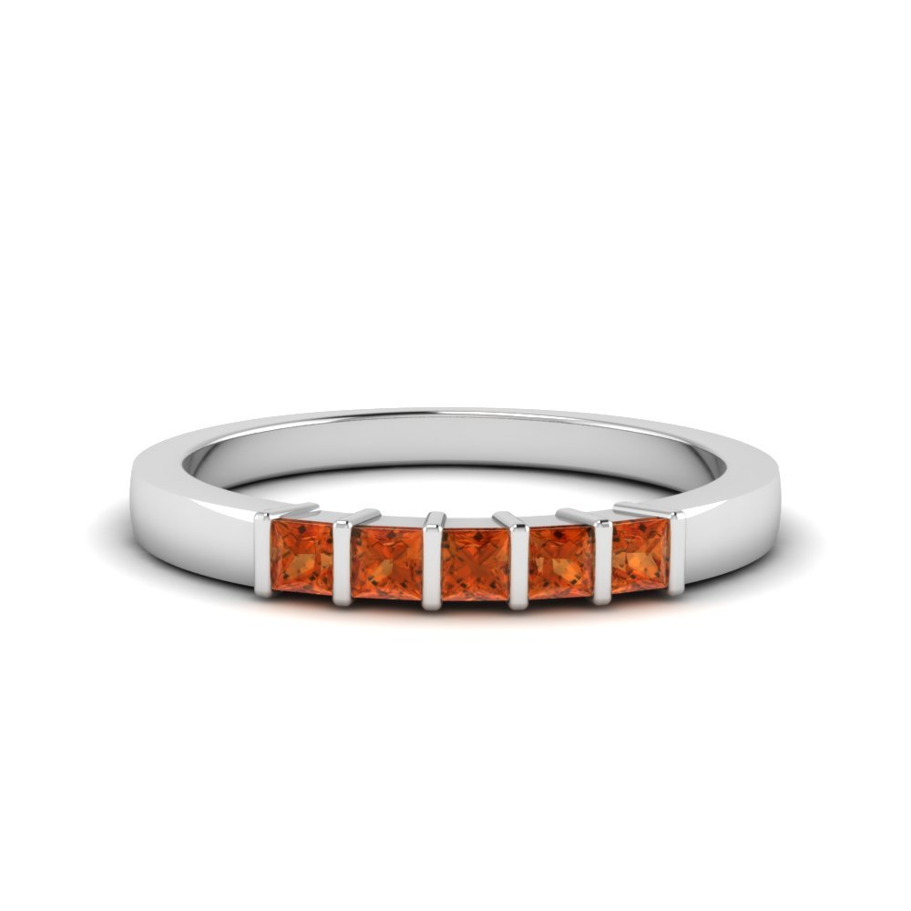 Platinum Orange Sapphire Wedding Band