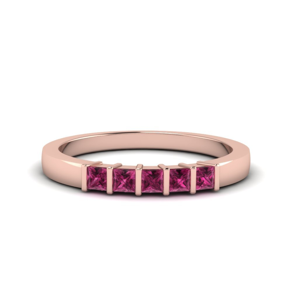 Bar Wedding Band With Pink Sapphire