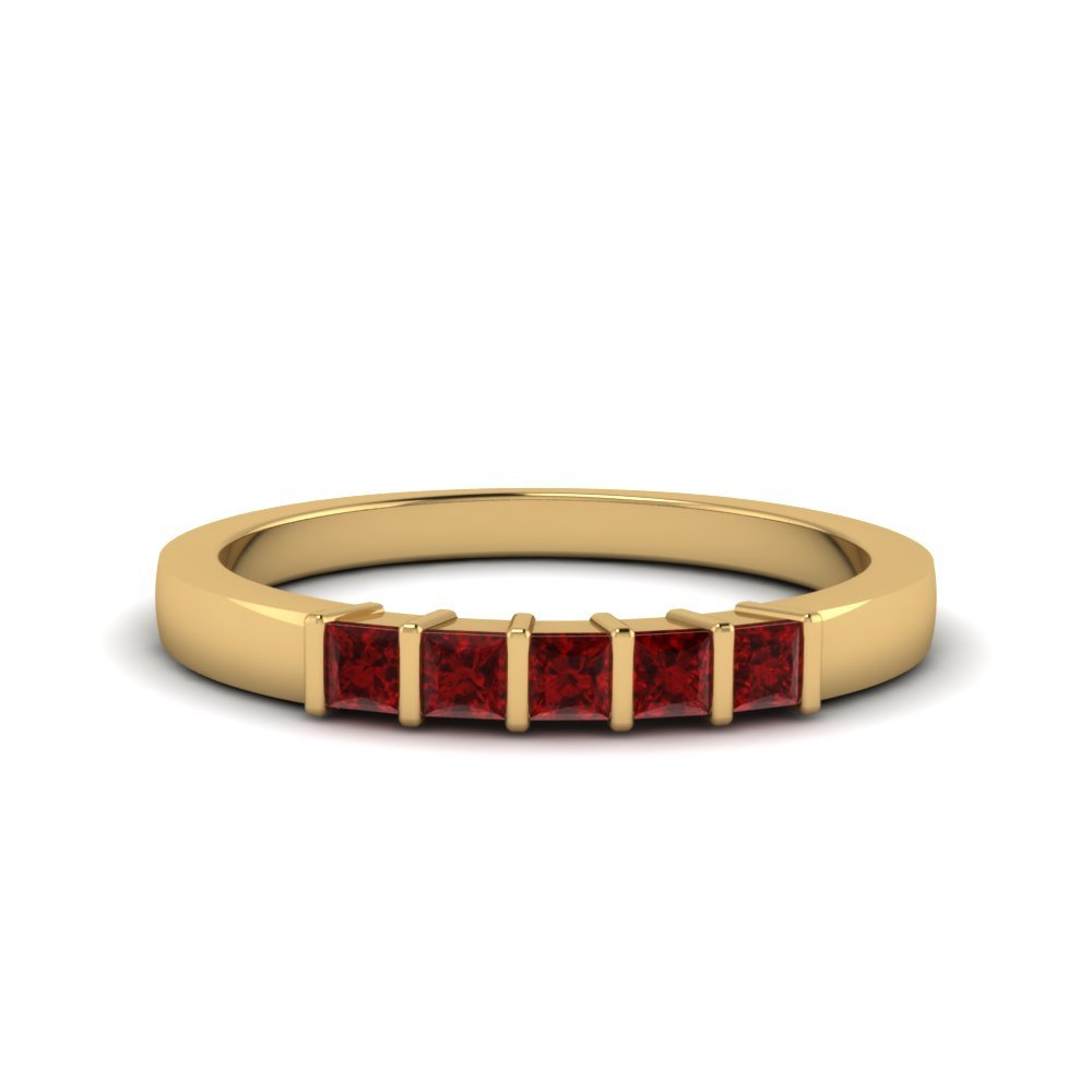 5 Stone Ruby Wedding Band