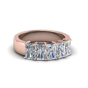 14K Rose Gold Five Stone Radiant Cut Band