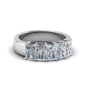 Five Stone Radiant Diamond Anniversary Band 2 Ct. In 14K White Gold