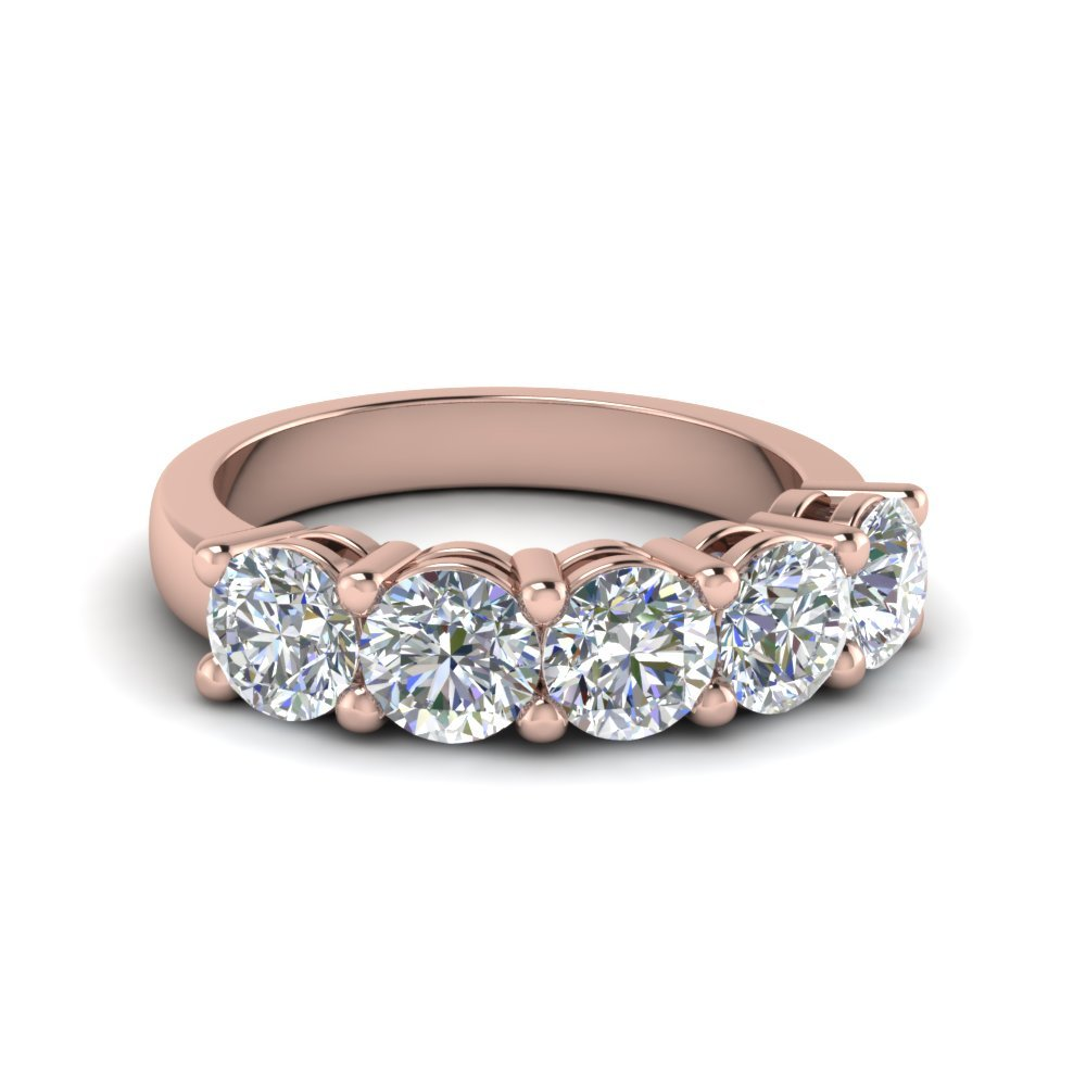 18K Rose Gold Five Stone Band