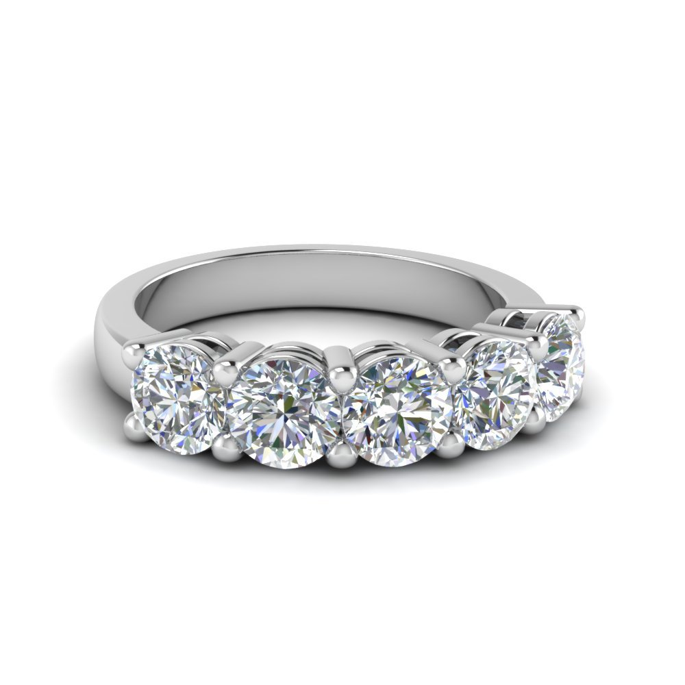 Platinum Five Stone Wedding Band