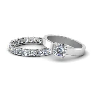 Flat Asscher Diamond Bridal Ring Set