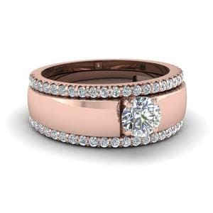 Flat Solitaire Diamond Trio Wedding Ring Set In 18K Rose Gold