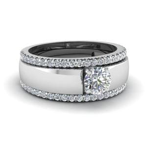 Flat Solitaire Diamond Trio Wedding Ring Set In 14K White Gold