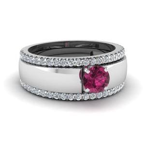 Flat Solitaire Pink Sapphire Trio Wedding Ring Set In 14K White Gold