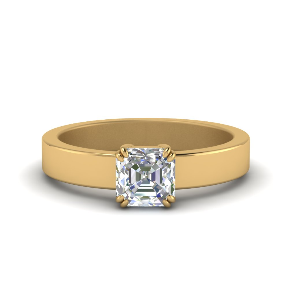 Flat Solitaire Asscher Cut Diamond Engagement Ring In 14K Yellow Gold