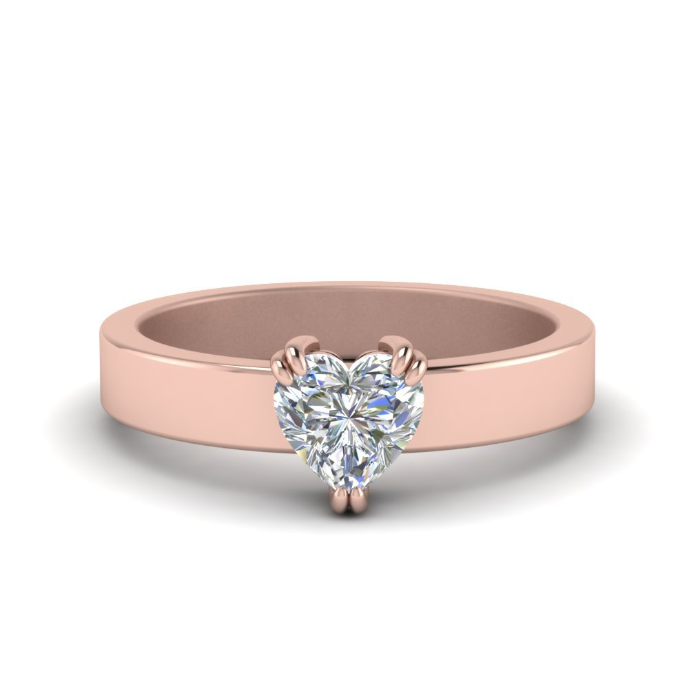 Flat Solitaire Heart Shaped Diamond Engagement Ring In 14K Rose Gold