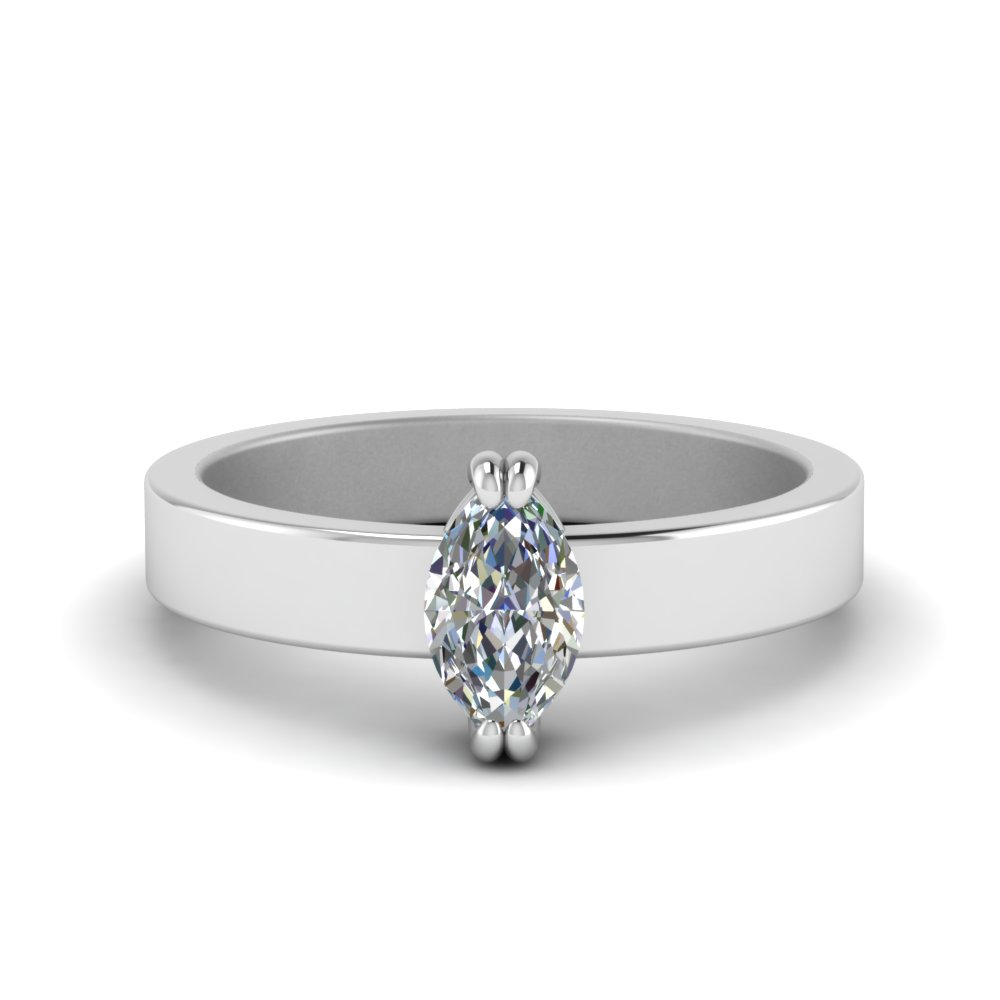 Flat Solitaire Marquise Cut Diamond Engagement Ring In 18K White Gold