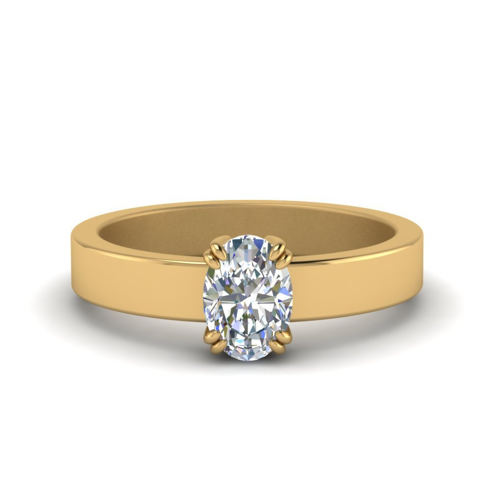 Flat Solitaire Oval Shaped Diamond Engagement Ring In 18K Yellow Gold