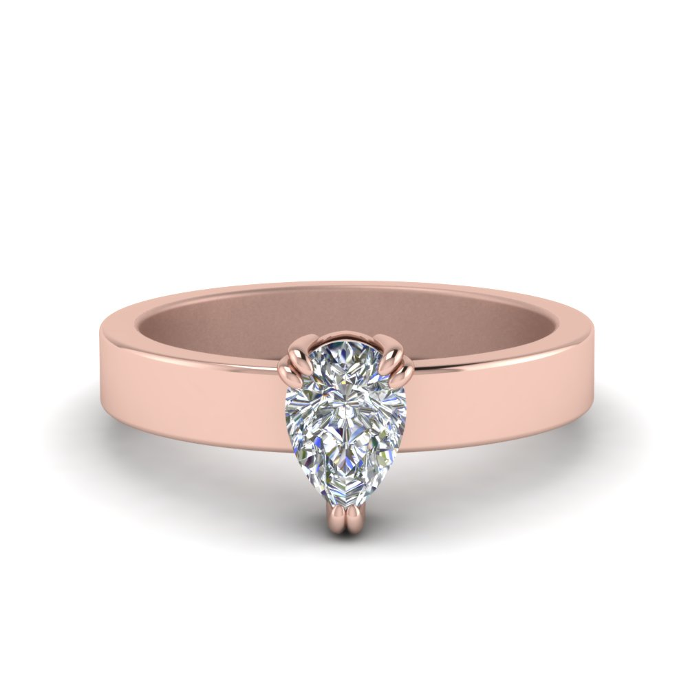 Flat Solitaire Pear Shaped Diamond Engagement Ring In 18K Rose Gold