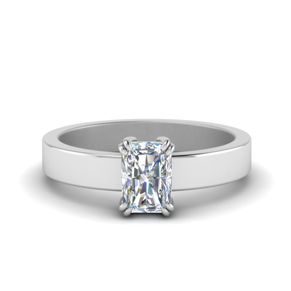 Flat Solitaire Radiant Cut Diamond Engagement Ring In 14K White Gold