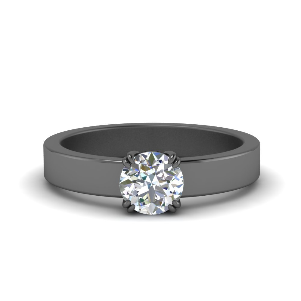 Flat Solitaire Round Cut Diamond Ring
