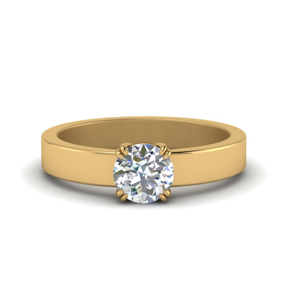 Flat Solitaire Round Cut Diamond Engagement Ring In 18K Yellow Gold