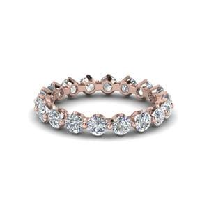 Floating Diamond Eternity Band For Women In 14K Rose Gold