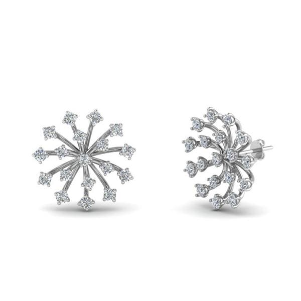Floating Diamond Stud Earring In 18K White Gold