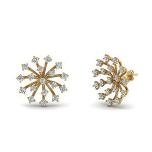 Floating Diamond Stud Earring In 18K Yellow Gold
