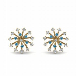 Diamond Stud Earring With Topaz
