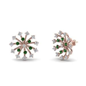 Rose Gold Emerald Stud Earring