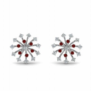 Ruby Floating Diamond Stud Earring