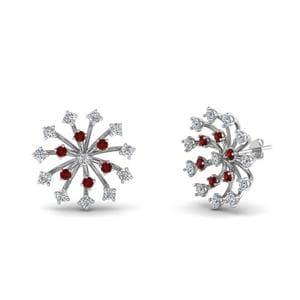 Floating Diamond Stud Earring With Ruby In 14K White Gold
