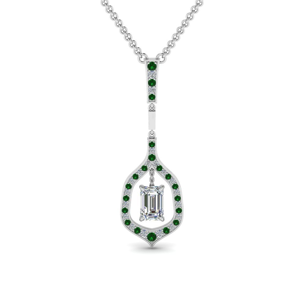 Drop Diamond Necklace With Emerald