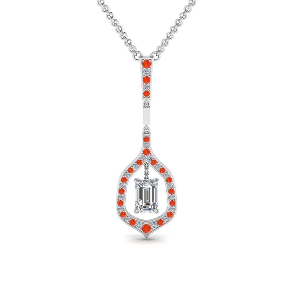 Orange Topaz Drop Necklace